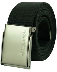Columbia Military Web Belt-adjustable One Size Cotton Strap And Metal Plaque Buckle - Green