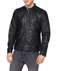 Superdry Hero Light Leather Racer Chaqueta - Negro