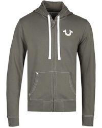 True Religion Classic Logo Khaki Green Zip Up Hoodie - Large - Mehrfarbig