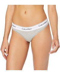 Calvin Klein Damen String MODERN COTTON - THONG, Gr. 42 (Herstellergröße: XL), Grau (GREY HEATHER 020) - Grigio