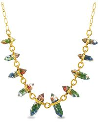Steve Madden Yellow Gold Plated Multi Color Encapsulated Flower Resin Link Cable Chain Necklace for - Giallo