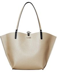 Guess ALBY VG745523 Tasche Shopper REVERSIBLE Tasche + Clutch Bag Small Gold - Mehrfarbig