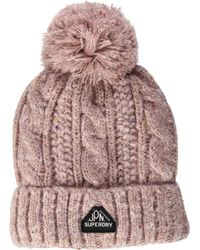 Superdry S Gracie Cable Beanie Hat - Pink