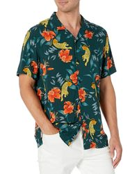 Goodthreads Standard-Fit Short-Sleeve Camp Collar Hawaiian Shirt Athletic-Shirts - Blu