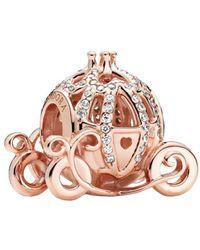 PANDORA Disney Cendrillon Charm en alliage plaqué or rose 14 carats 11 x 13 x 14,4 mm