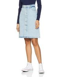 Levi's A Line Midi Button Skirt Rock - Blau