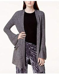 Kensie Warm Touch Open Cardigan With Bell Sleeve - Gray