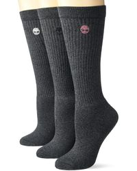 Timberland Ladies 3-pair Pack Ribbed Full Comfort Boot Socks One Size - Black