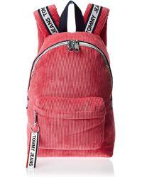 Tommy Hilfiger Tommy Jeans Logo Tape Mi Claret Rot Corduroy Backpack