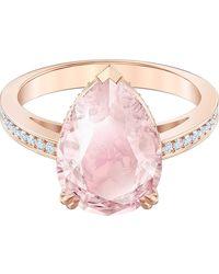 Swarovski Vintage Cocktail s Rose Gold Tone Platet 58 Ring 5509670 - Pink