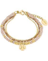 S.oliver Armband mit Kleeblatt-Anhänger Edelstahl IP Gold Beschichtung Glassteine creme - Mettallic