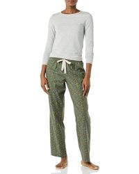 Amazon Essentials Long Sleeve Knit Top And Lightweight Flannel Pyjama Pant Set - Multicolour