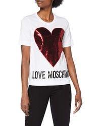 Love Moschino Short Sleeve T-Shirt_Sequin Heart + Logo - Rosso