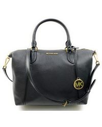 Michael Kors Lenox Soft Pebbled Leather Top-zip Satchel - Black