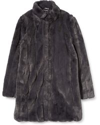 Dorothy Perkins Slate Longline Pleated Faux Fur Coat - Grey
