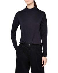 Meraki Boxy Fit High-neck Cotton-blend - Blue