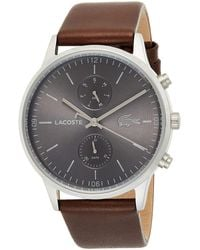 Lacoste Madrid Stainless Steel Quartz Watch With Leather Calfskin Strap - Brown