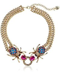 Betsey Johnson - Creep Show Double Spider Necklace - Lyst