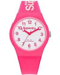 Superdry Analog Quarz Uhr mit Silikon Armband SYG164PW - Pink