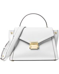 Michael Kors Whitney Medium Tri-color Graphic Logo And Leather Satchel - White