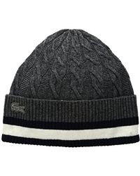 Lacoste - Cable Knit Stitch Beanie - Lyst