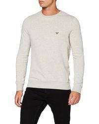 True Religion Crew Fleece Metal Horseshoe Sweatshirt - Grey
