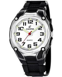 Calypso St. Barth Quartz Watch With White Dial Analogue Display And Black Plastic Strap K5560/4