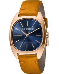 Esprit S Analogue Quartz Watch With Leather Strap Es1g038l0055 - Metallic