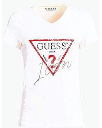 Guess SS VN Icon Tee T-Shirt Donna - Bianco