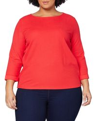 Tom Tailor T-Shirts/Tops Strukturiertes Shirt mit 3/4-Arm Strong Red,L - Rot
