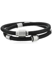 Steve Madden Navy Blue Double Strand Faux Pebbled Leather With Rondelle Design Bracelet In Stainless Steel