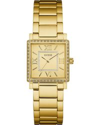 Guess W0827l2,ladies Dress,stainless Steel,gold-tone,crystal Accented Bezel,30m Wr - Metallic