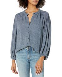 Goodthreads Fluid Twill Volume-Sleeve Poet Shirt Camisa de Vestir - Azul