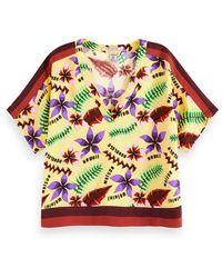 Scotch & Soda Maison Printed V-Neck Top with Color Block Details Camicia - Multicolore