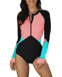 HIKARO S Pink One Piece Sun Protection Rash Guard Upf 50+ Wetsuit Swimsuit Ladies Colour Block Zip Front Long Sleeve Swimwear Uk 16