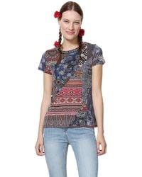 Desigual T- Shirt Short Sleeve Lucia Blue - Bleu