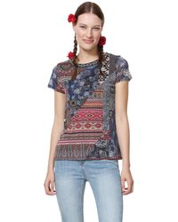 Desigual T-Shirt Short Sleeve Lucia Blue Camiseta - Azul