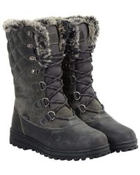 Mountain Warehouse Vostock Womens Snow Boots - Waterproof, Sturdy Grip, Leather, Textile Upper, Thermal, High Traction - Great - Grey