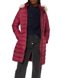 Tommy Hilfiger Tjw Essential Hooded Down Coat Jacket, - Red