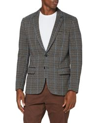 Scotch & Soda Singlbreasted Knitted Check Blazer Giacca Casual - Grigio