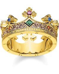 Thomas Sabo Ring Krone Gold 925 Sterlingsilber gelbgold vergoldet TR2265-973-7-56 - Mettallic