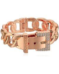 Guess - Frozen Chain Link Buckle Hinge Bangle Bracelet - Lyst