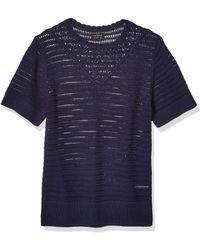 Lucky Brand Plus Size Short Sleeve Crochet Sweater - Blue
