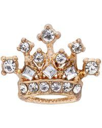 HIKARO Amazon Brand Royal Crown Crystal Lapel Pin Badge Brooch - Metallic