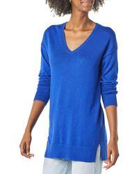 Amazon Essentials Lightweight V-Neck Tunic Sweater Suéter - Azul