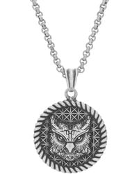Steve Madden Oxidized Stainless Steel Rope Edge Owl Coin Necklace for 26 Inch Rolo Chain - Bianco