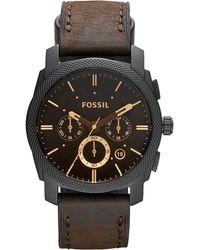 Fossil Chronographe Quartz Montre avec Bracelet en Cuir FS4656 - Noir