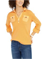 Tommy Hilfiger - S Yellow Waffle Knit Long Sleeve Collared Blouse Top Uk - Lyst