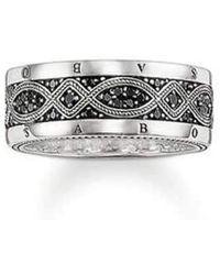 Thomas Sabo Ring Silber Oxidiertes Zirkonia schwarz Gr. 56 - Mettallic