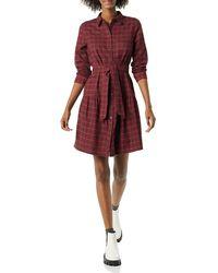 Amazon Essentials Mini Feminine Flannel Shirt Dress - Red